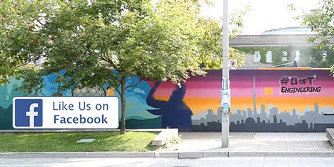 Like us on Facebook image textbox over backdrop of CEIE mural