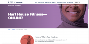 Screenshot of Hart House Fitness website