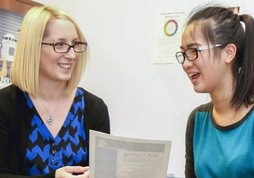 student talking with an academic advisor